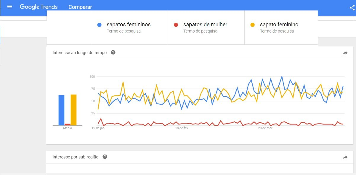 On page SEO project - search trends in key word Brazil: women's shoes